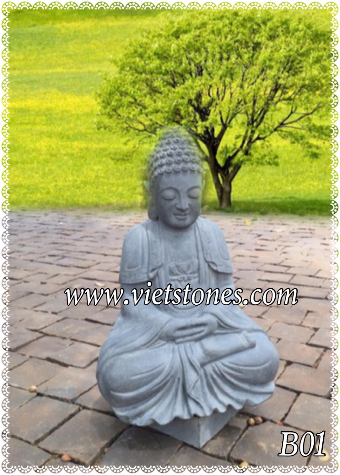 Tượng Phật đá basalt B01